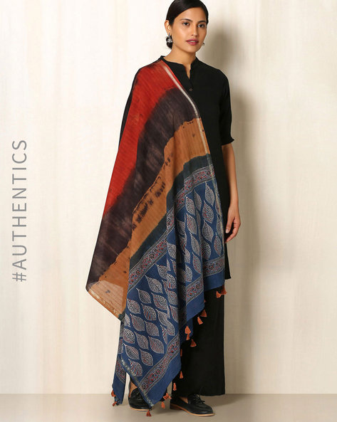Ajrak Handblock Print Shibori Cotton Dupatta By Indie Picks ( Multi ) - 460045140001