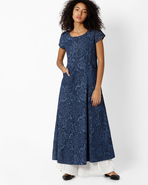 Printed A-line Maxi Cotton Dress By Biba ( Blue )