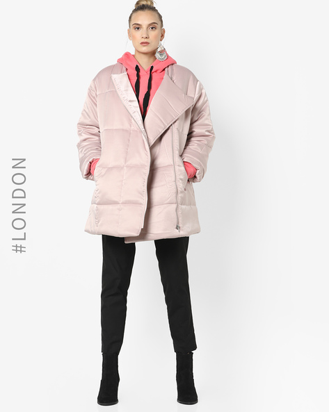 Quilted Coat With Front Zipper By Glamorous ( Pink )