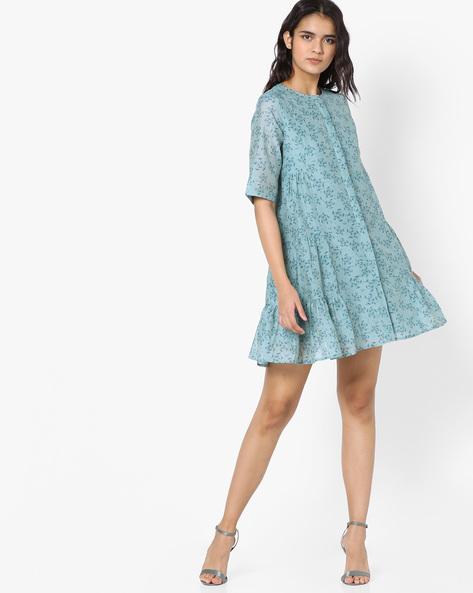 Button-Down Printed A-Line Dress By AJIO ( Blue )
