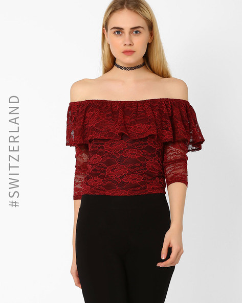 Ruffled Off-Shoulder Top By TALLY WEiJL ( Red )