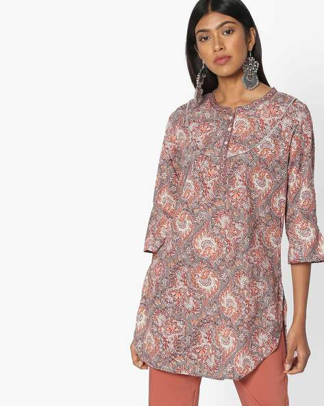 Floral Print Kurti By Melange By Lifestyle ( Grey )