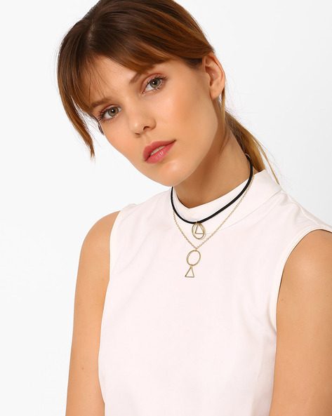 Geometric Layered Necklace By Pipa Bella ( Gold )