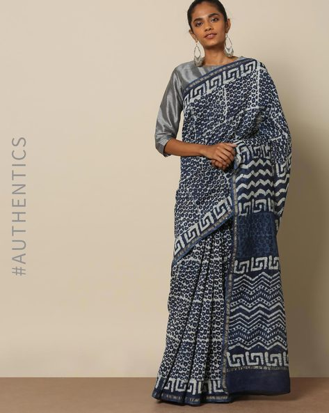 Handblock Indigo Print Chanderi Saree With Zari By Indie Picks ( Indigo ) - 460146837001