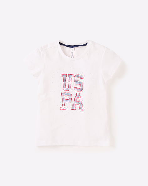 Round-Neck T-shirt With Embellishments By USPA ( White )