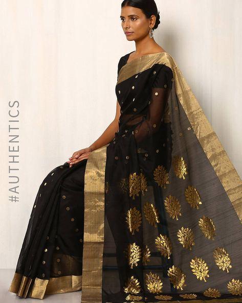 Handwoven Pure Silk Cotton Chanderi Saree By Indie Picks ( Black ) - 460037185001