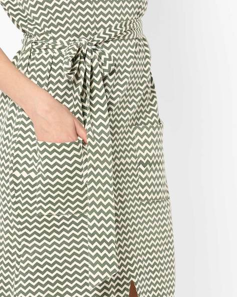 Chevron Print Shift Dress With Tie-Up By ANONYMOUS CO ( Olivegreen )