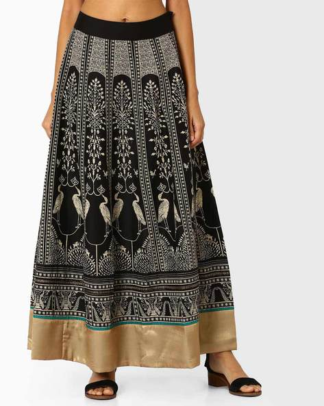 Printed Skirt With Gota Border By W ( Black )
