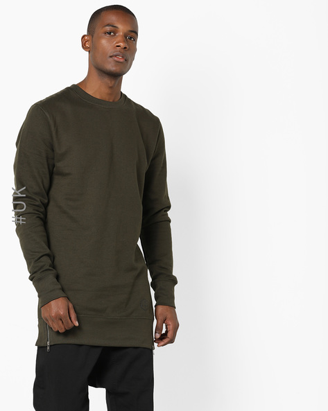 Crew-Neck Sweatshirt With Side Zips By BRAVE SOUL ( Khaki )
