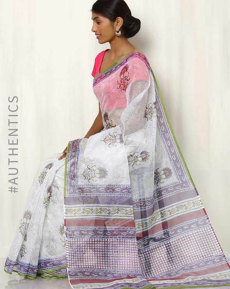 Hand Block Printed Kota Saree By Indie Picks ( Multi )