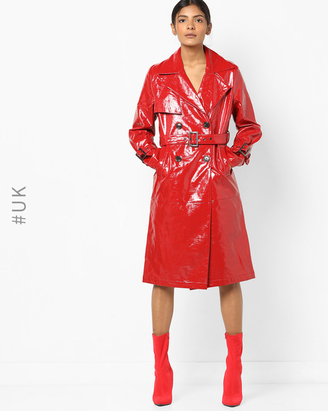 Double-Breasted Trench Coat With Belt By NEON ROSE ( Red )
