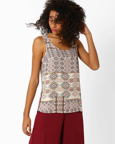 Printed Sleeveless Top By Only ( White )