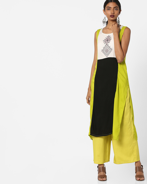 Printed Sleeveless Straight Kurta By AVAASA MIX N' MATCH ( Lime )