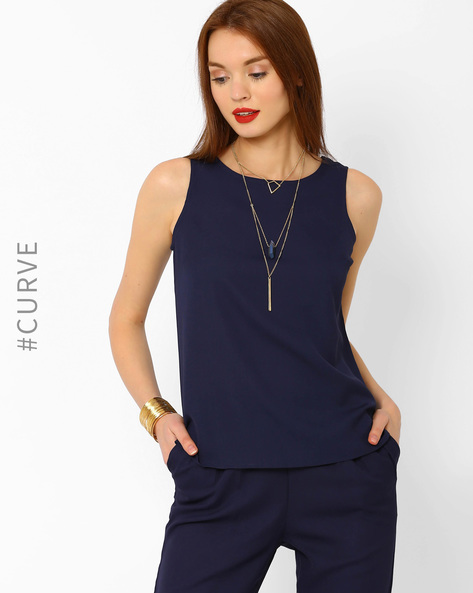 Top With Lace Panel By AJIO ( Navyblue )