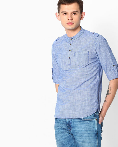 Houndstooth Slim Fit Shirt By The Indian Garage Co ( Blue )