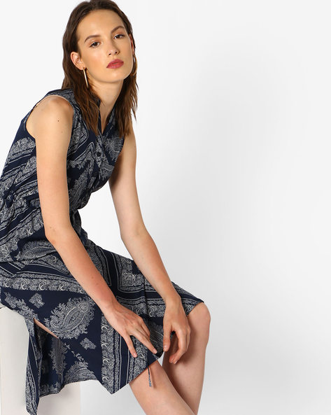 Paisley Print A-Line Dress By Oxolloxo ( Blue )