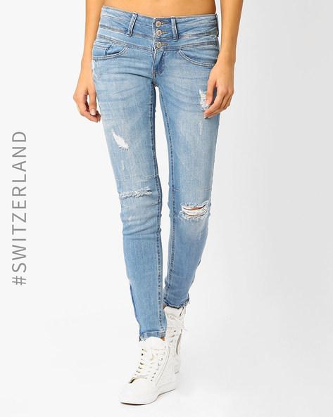 Distressed Skinny Jeans By TALLY WEiJL ( Lightblue )