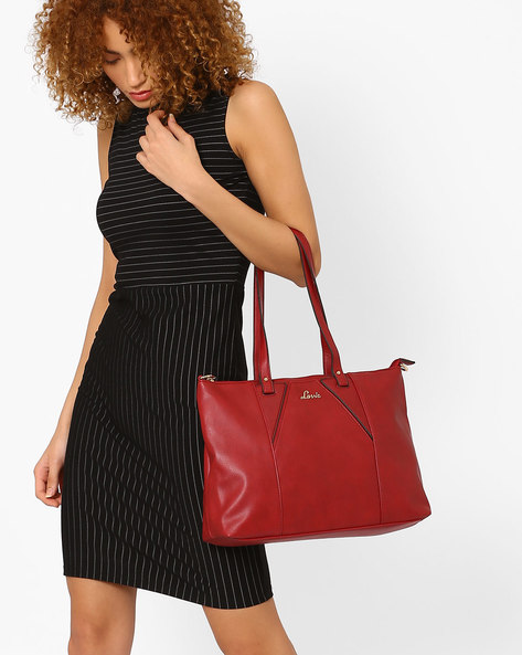 Handbag With Detachable Sling By Lavie ( Maroon )
