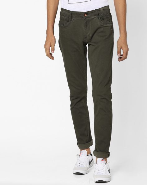 Slim Tapered Fit Jeans By AJIO ( Olive )
