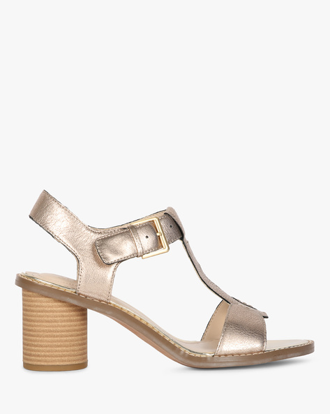 Glacier Ray Ankle-Strap Sandals With Chunky Heels By CLARKS ( Champagne )