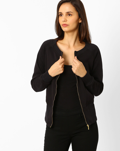Cotton Jacket With Quilted Sleeves By Wills Lifestyle ( Black )