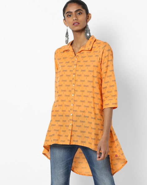 Printed Shirt Tunic With High-Low Hemline By Biba ( Orange )