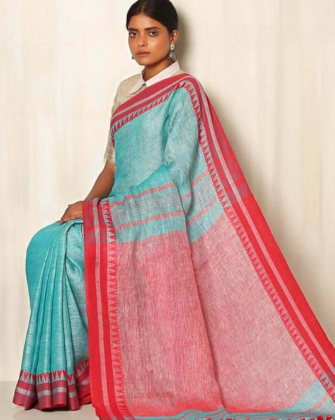 Handwoven Linen Saree With Cotton Contrast Border By Indie Picks ( Seablue )