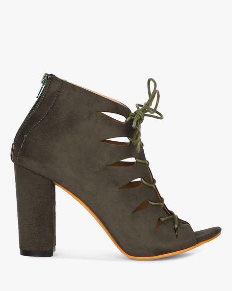 Ankle-Length Lace-Up Chunky Heels By MFT Couture ( Olive )