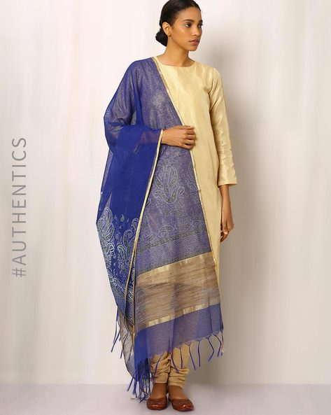 Handwoven Printed Kota Net Dupatta With Zari Border By Indie Picks ( Blue )