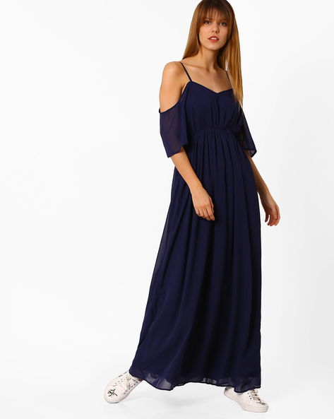 Cold-Shoulder Empire Dress By Femella ( Navyblue )