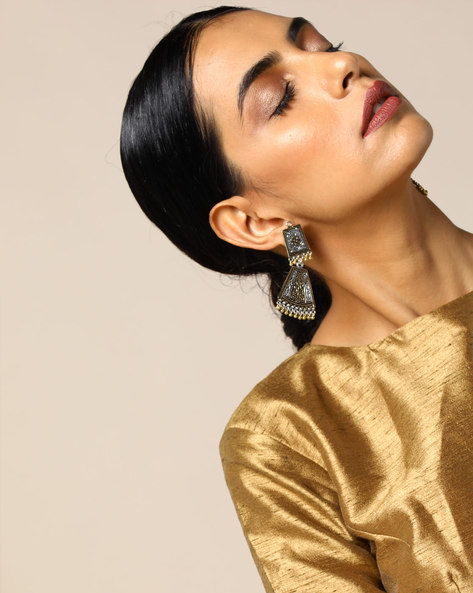 Two-Toned Brass Drop-Earrings By Studio B40 ( Goldensilver )