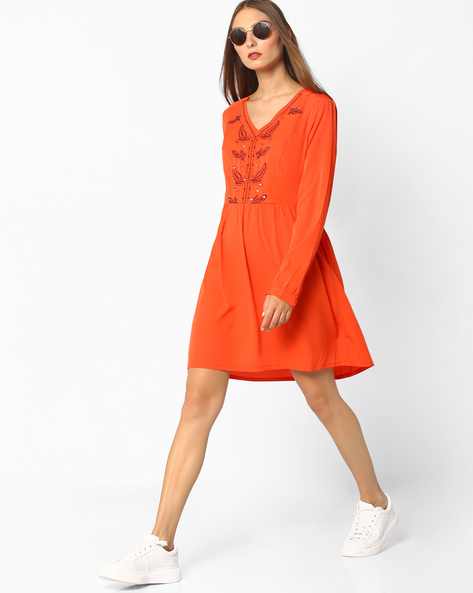 Embroidered Fit & Flare Dress By Oxolloxo ( Orange )