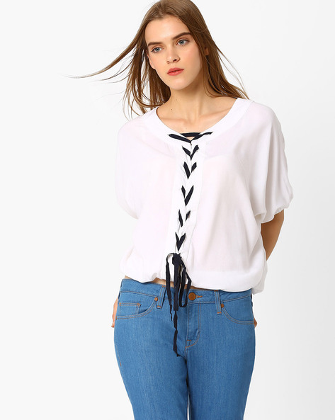Batwing Top With Braided Tie-Up By RIO ( White )
