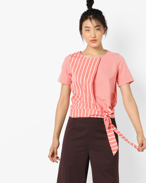 Striped Layered Top With Tie-Up By AJIO ( Coral )
