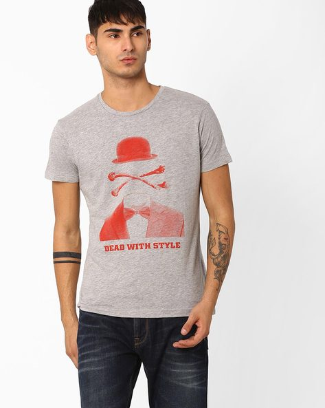 Slim Fit Crew-Neck T-shirt By ADAMO LONDON ( Greymelange ) - 460046891002