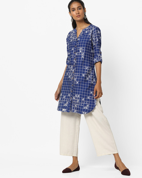 Geometric Print Kurta With Roll-Up Tabs By Global Desi ( Navy )
