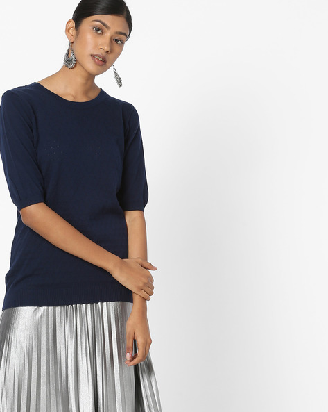 Cotton Knitted Top By FIG ( Navy )