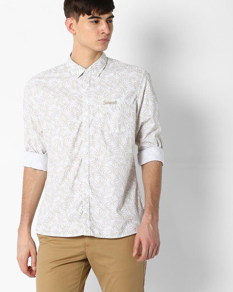 Printed Classic Shirt By TEAM SPIRIT ( White )