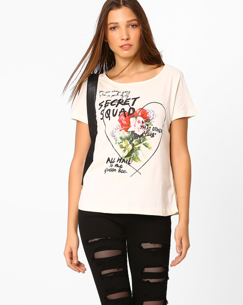 Floral Print T-shirt By AJIO ( Offwhite )