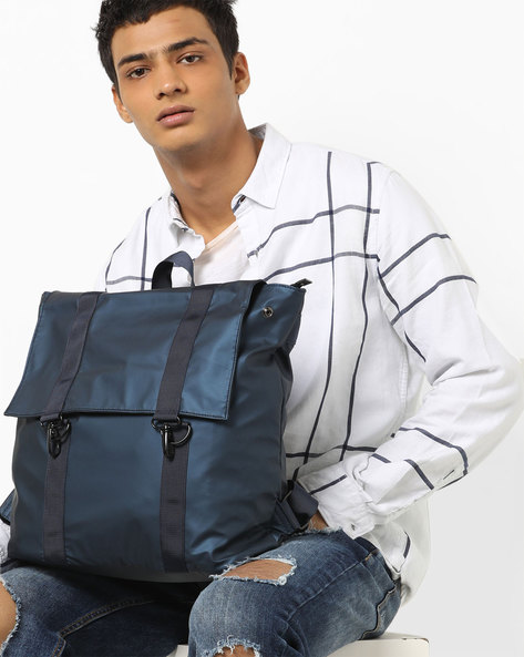Laptop Backpack With Flap Closure By AJIO ( Navy )