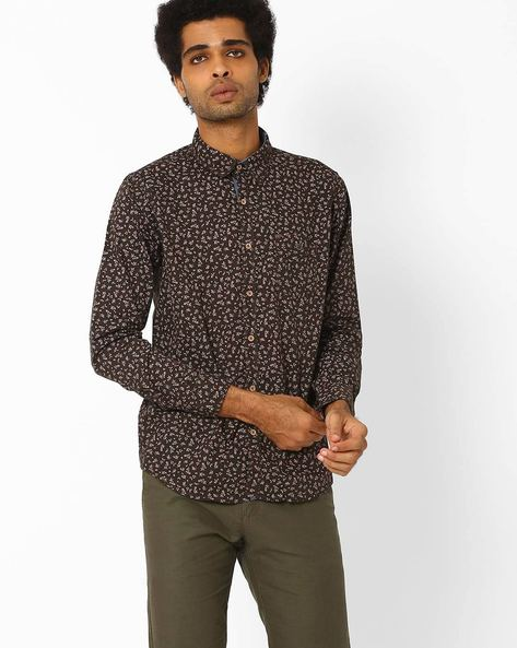 Printed Cotton Shirt By SIN ( Olive )