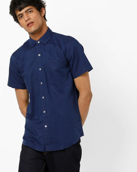 Slim Fit Shirt With Spread Collar By Lee ( Navyblue )