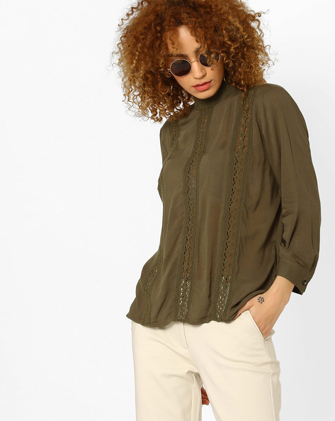 Blouson Top With Crochet Detail By Vero Moda ( Olive )