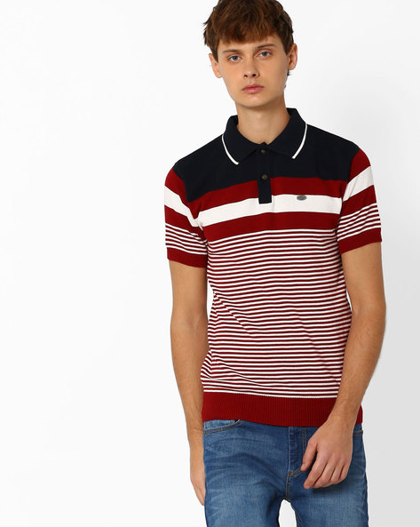 Striped Cotton Polo T-shirt By NETPLAY ( Offwhite )