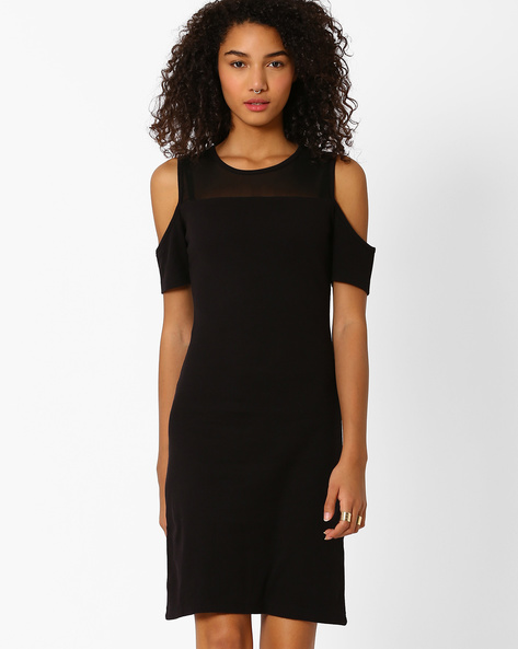 Cold Shoulder Sheath Dress By Vero Moda ( Black )