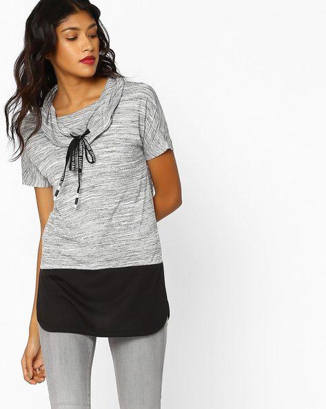 Striated Knit Longline Top By Teamspirit ( Greymelange )