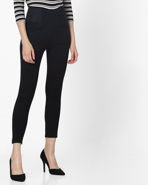 Ankle-Length Panelled Leggings By CODE By Lifestyle ( Black )