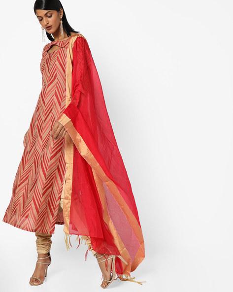 Chevron Print Dress Material By Parmita ( Red )