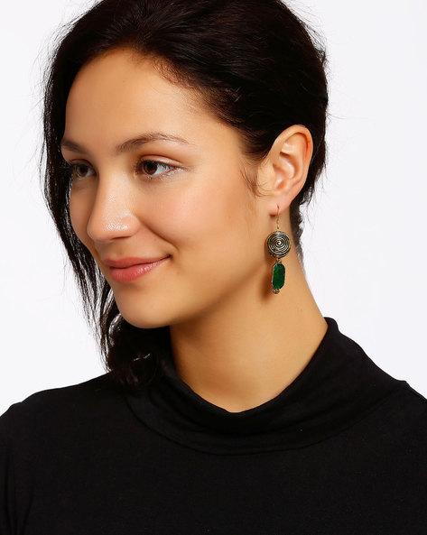 Gold-Plated Dangler Earrings By Shabnam Gitanjali ( Darkgreen ) - 460012337001