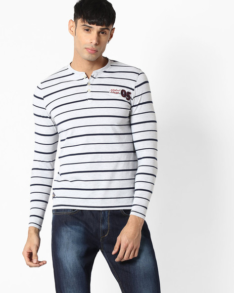 Striped Henley T-shirt By TEAM SPIRIT ( Ltgrey )